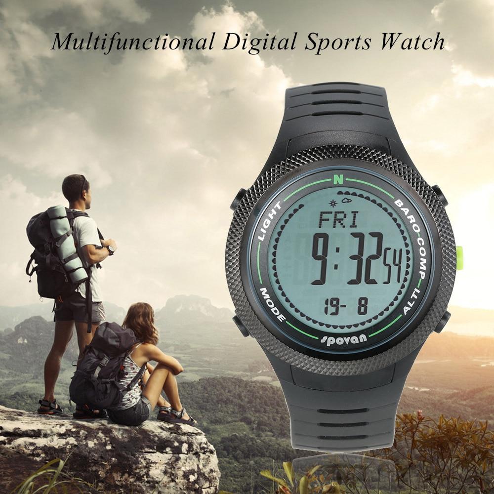 SPOVAN 5ATM montre de sport multifonctionnelle altimètre baromètre thermomètre boussole numérique prévision météo podomètre boussole
