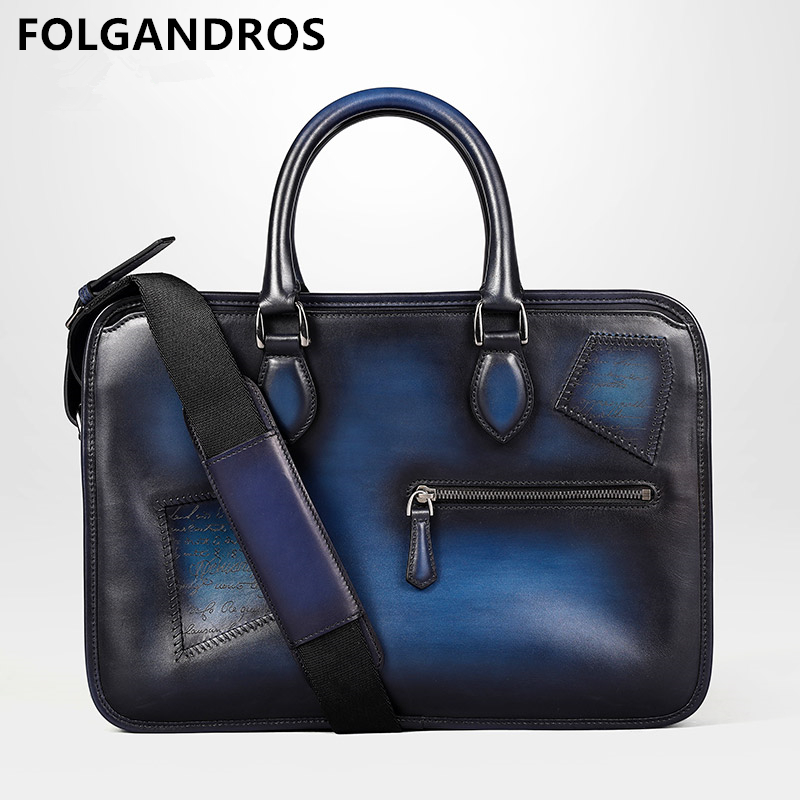 2019 Genuine Leather Patch Briefcases For Male Handmade Vintage Luxury Shoulder Bag Cowhide Laptop Computer Business Case Totes