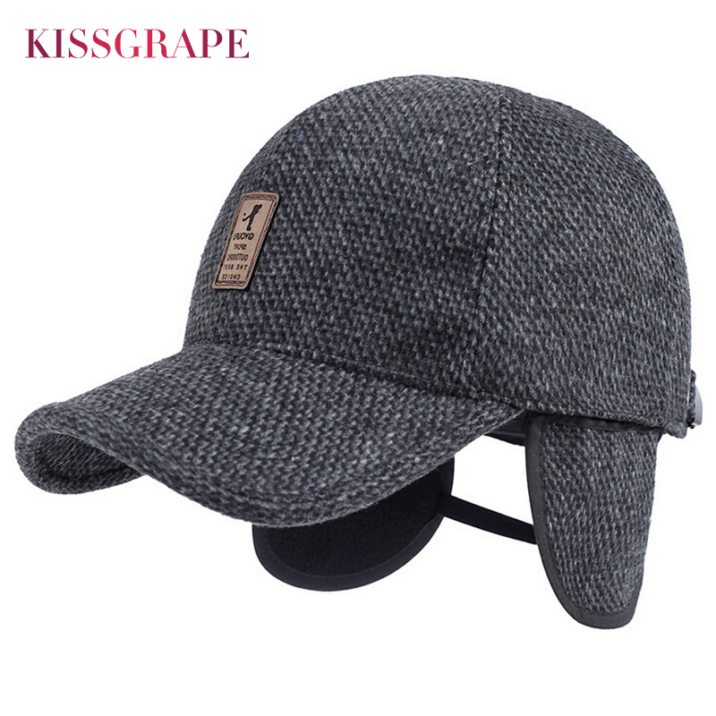 2017 Winter Warm Dad Hats Father Drake Baseball Caps for Men Golf Hats Snapback Caps Men's Knitted Baseball Cap with Ear Flaps winter genuine leather baseball caps men golf peaked dome hats male adjustable ear warm casquette leisure peaked cap b 7209