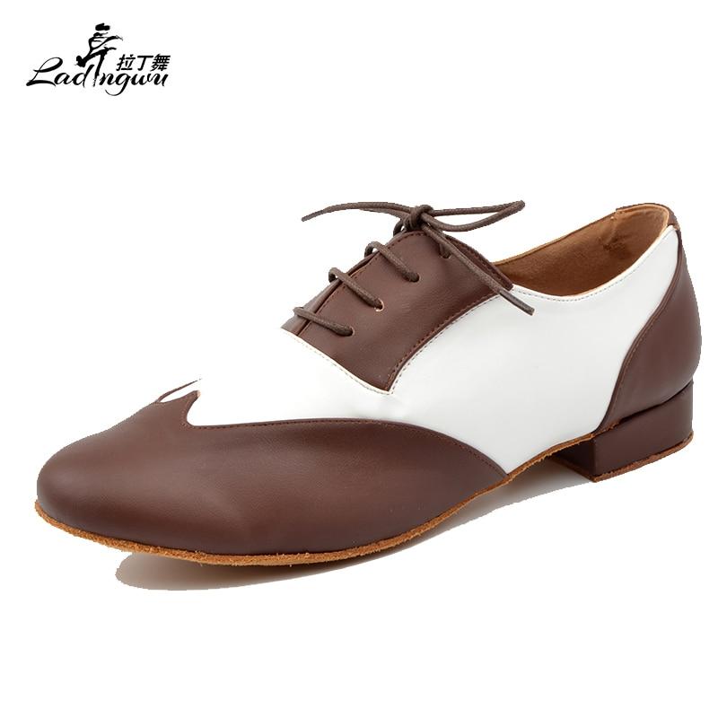 Ladingwu Free Shipping New Brand Modern Men's Ballroom Tango Waltz Latin Dance Shoes Microfiber Synthetic Leather Heel 2.5/4.5cm