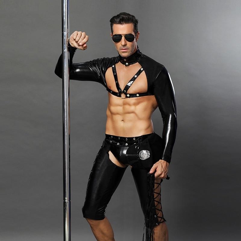 4 pièces PVC Sexy Police hommes Cosplay vinyle cuir Catsuit flic uniforme Lingerie sous-vêtements pour Gay adulte fantaisie Costume - 5