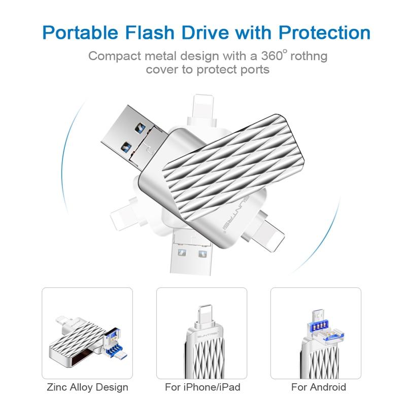 Suntrsi USB 2.0 Flash Drive 16gb 32gb OTG Metal Pendrive For iPhone/iPad/Android Smartphone High Speed 64gb USB Stick Free ship