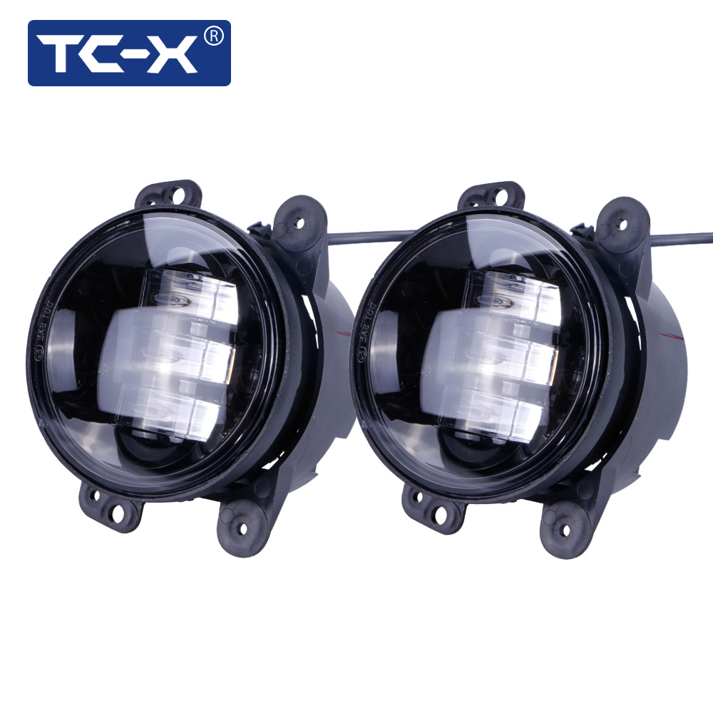 TC-X 2017 New 2pcs/Pair 4 Inch LED Fog Light 30W White Round Fog Lamp Assembly Lens Projector for 07-16 Jeep Wrangler JK TJ LJ
