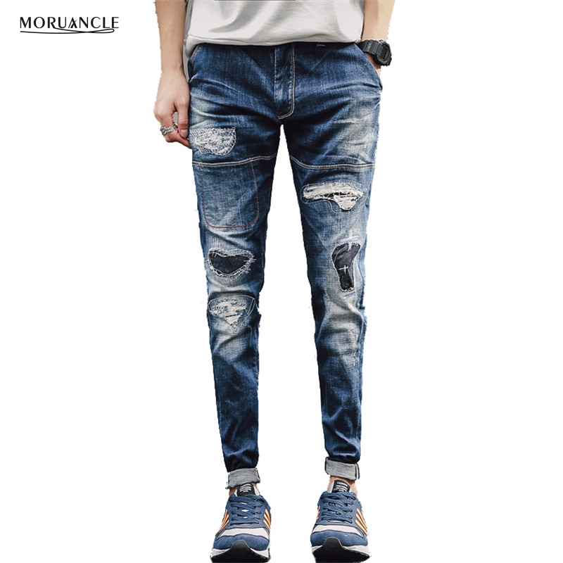 MORUANCLE New Fashion Men s Ripped Jeans pants Slim Fit Distressed Patched Denim Joggers For Male
