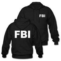 FBI Zip Katoen Print Mannen Zwarte Hoodies Agent Secret Service Politie CIA Personeel Sweatshirts Merk Kleding Camisetas Tops Tees