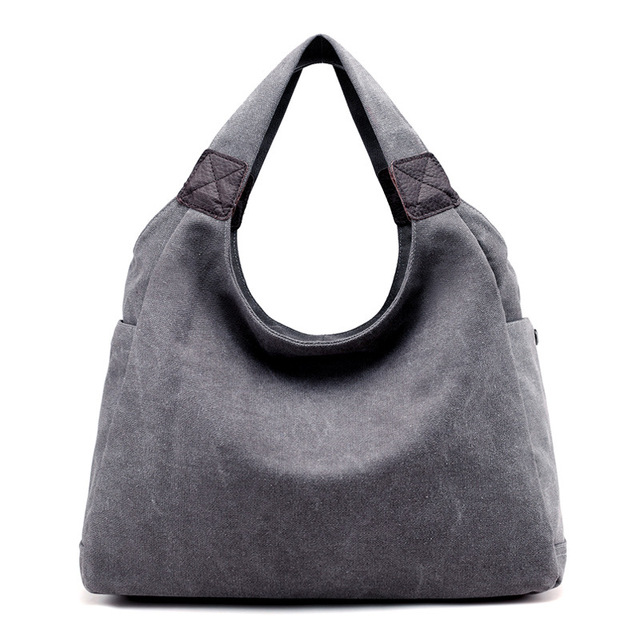 Female Hobos Handbags Lady Solid Handbag Casual Large Capacity Shoulder Bags Canvas Top Handle Totes