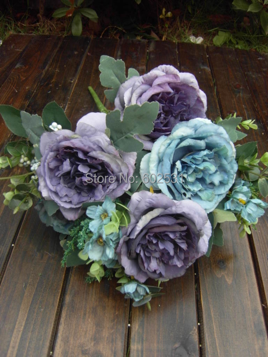 European painting retro Hibiscus Roses Wedding artificial flowers ...
