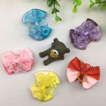 (10 pieces/lot) Cute Lace Decorated Pet Hair Accessories Handmade Double Ribbon Small Dog Cat Hair Bows 5 Colors Length 2 Inch