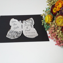 Customized 140*120mm Laser cut Wedding Invitation Engraved silver mirror Acrylic wedding Save the Date cards (1lot=100pcs)