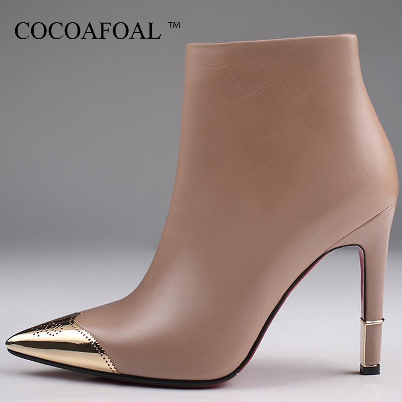 COCOAFOAL Woman Pointed Toe Winter Chelsea Boots Fashion Sexy High Heel Shoes Big Size Black Apricot Genuine Leather Ankle Boots cocoafoal woman genuine leather ankle boots autumn winter 9 cm high heel shoes black apricot fashion sexy pointed toe boots 2018