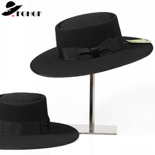Unisex 100% Wool Fedoras Hat for Men Women Bow Pork Pie Hat