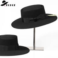 Unisex 100% Wool Fedoras Hat for Men Women Bow Pork Pie Hat Classic England Sir Brim Hat Church Wool Felt Hat New Autumn Winter