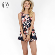 Summer Dresses Casual Floral A line O neck Summer Dress 2018 Plus Size Sleeveless Print Women