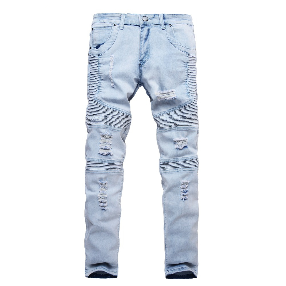 2018 New Fashion Jeans Men Blue Slim Straight Denim Ripped Jeans Classical Design Pants Mens Trousers ...
