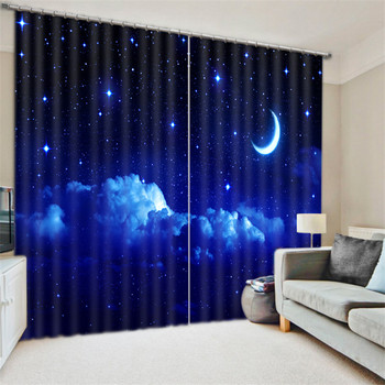 Modern Fashion moon stars Printing 3D Blackout Curtains For Kids Bedding room Living room Hotel Drapes Cortinas Para Sala