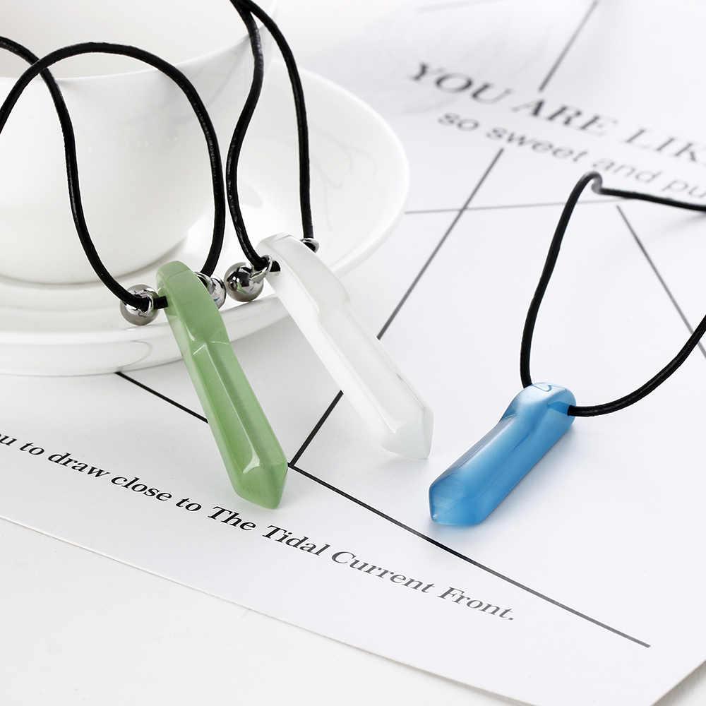 1 sztuka modny naszyjnik z żywicy niebieski biały zielony Charms naszyjnik wisiorek Anime Cosplay skóra kamień Choker