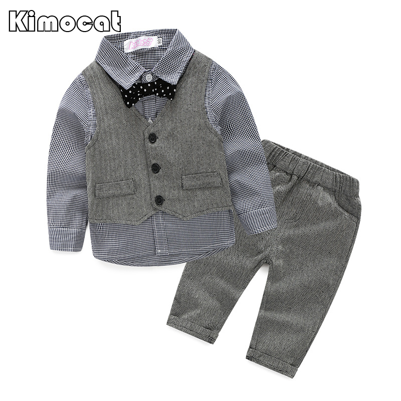 2015 baby boy gentleman suit three sets of plaid long-sleeved shirt + vest + pants 3 pieces suit leisure suit boy