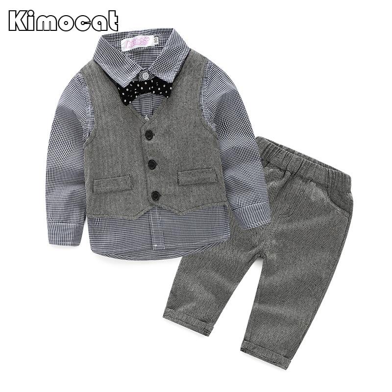2015 baby boy gentleman suit three sets of plaid long-sleeved shirt + vest + pants 3 pieces suit leisure suit boy