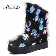 Теплые короткие плюшевые женские зимние ботинки; зимние женские модные ботинки из флока с блестящими вставками; ботинки без застежки на плоской подошве с круглым носком для девочек; камуфляжные ботинки