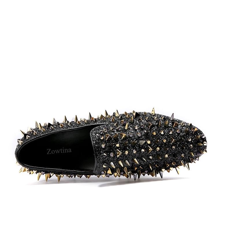Paillettes Noir Hommes Appartements or Mariage Grande Taille Chaussures Luxe Robe Sur Mocassins De Noir Casual Bling Des Glissement Rivets Pointu K1cFJl