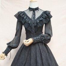 Черная винтажная Кружевная и шифоновая блузка с оборками и длинным рукавом в стиле Лолиты, женские рубашки, викторианские топы, Camisas Femininas Manga Longa