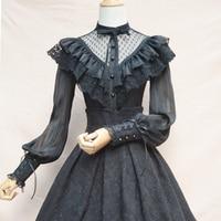 Black Lolita Vintage Lace & Chiffon Ruffle Long Sleeve Blouse Women Shirts Victorian Tops Camisas Femininas Manga Longa 2017