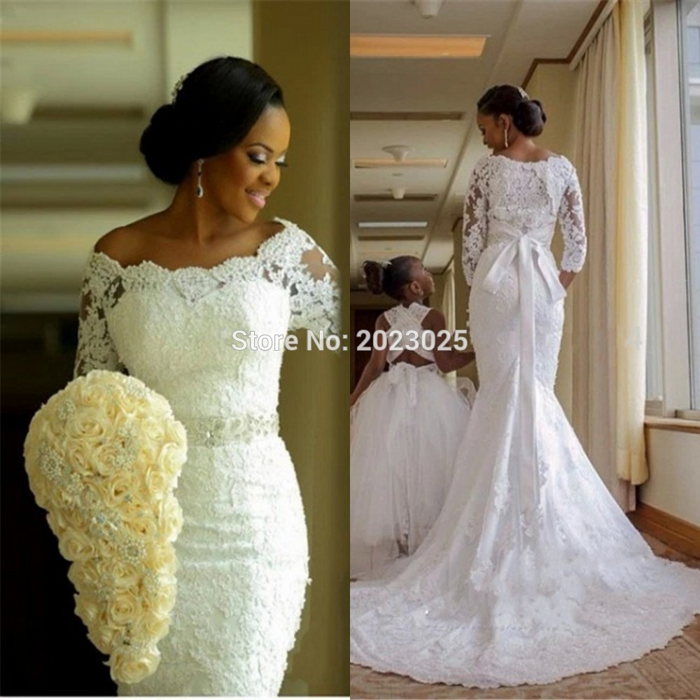 South africa sheer lace wedding dress 2017 three quarter for African lace wedding dress