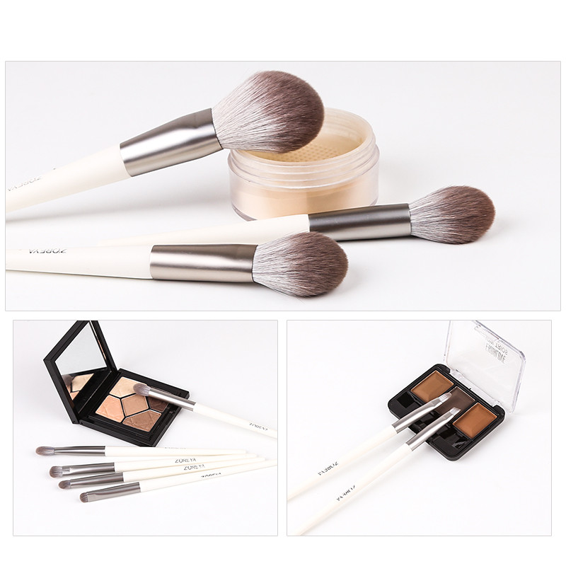 Image 5 - Zoreya Brand Soft Synthetic Hair Eye Shadow Brush White Handle Blending Blush Lip Powder Highlighter Makeup Brushes Set 10pcsEye Shadow Applicator   -