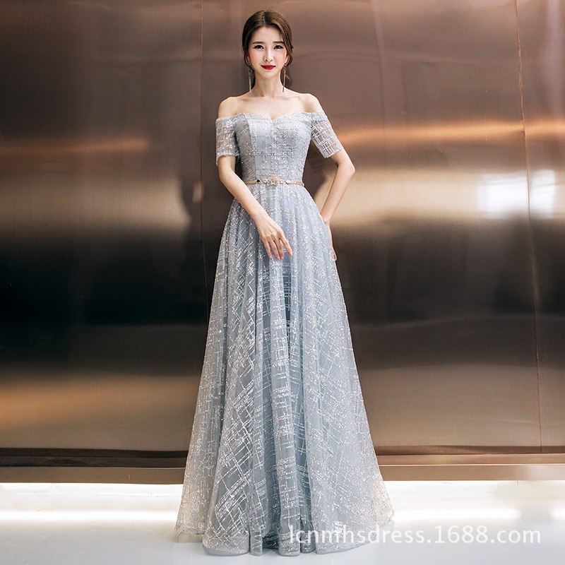 New High-end Banquet Elegant Grey   Evening     Dress   Luxury Crystal Beading A Line Long Prom Party Formal Gown suknia wieczorowa