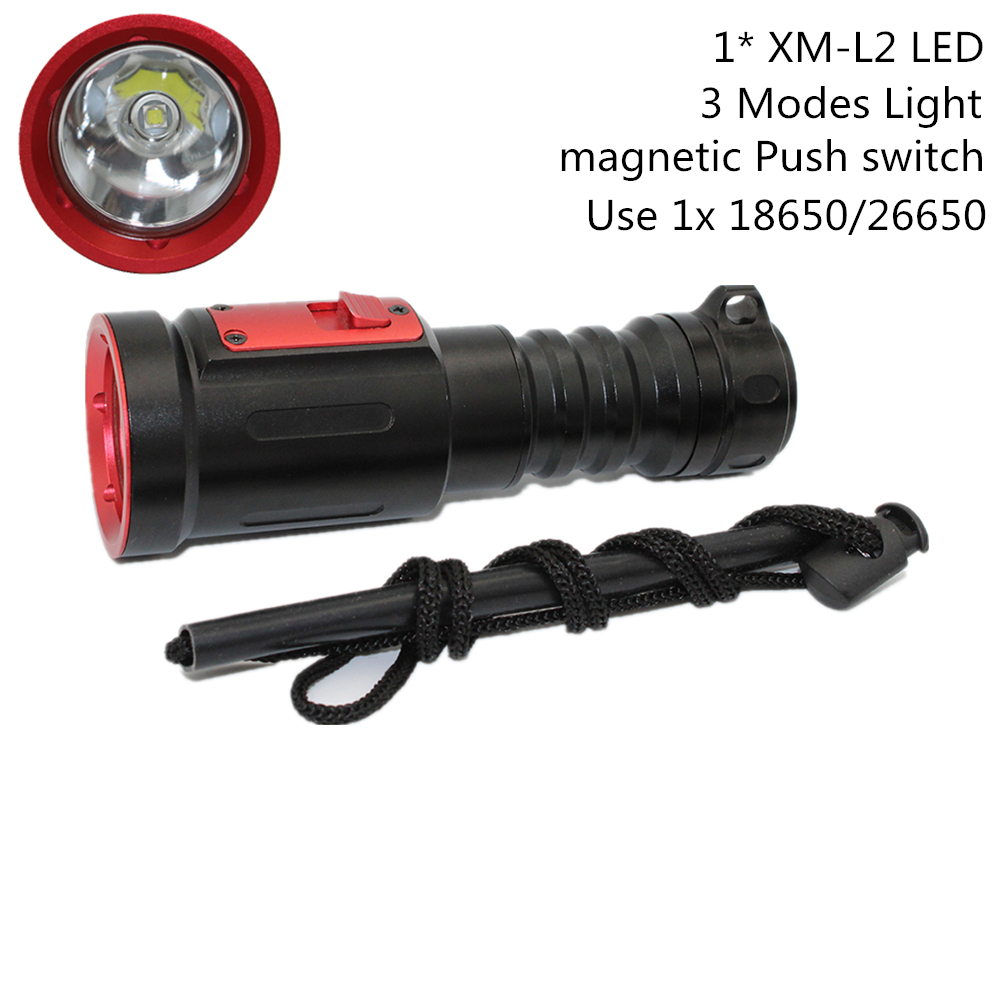 Scuba Diving Flashlight XM-L2 LED Light 1200 Lumens Underwater Waterproof Torch Lamp Use 1x 18650 / 26650 Battery diving 4000 lumens cree xm l2 led 3 l2 led t6 flashlight torch waterproof underwear lamp light super white light