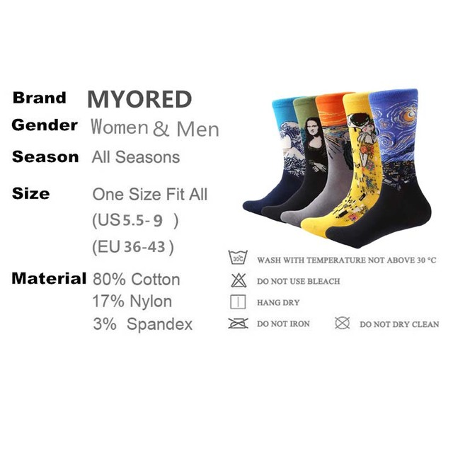MYORED 5 pair/lot Men's Painting socks cotton Retro Oil Painting socks crew funny sock casual dress colorful wedding gift socks 1