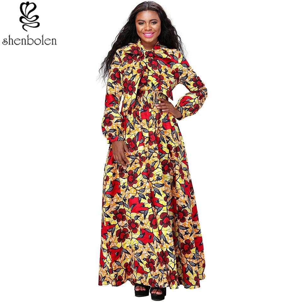 Hiver Imprimer À Élégant Patineuse Picture Traditionnelle Femmes Longues Africaines Étage as Rétro Manches As Picture Robes Longueur Maxi Automne qUpSMVz