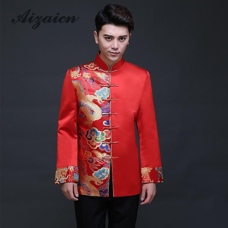 Costume de Dragon chinois traditionnel hommes broderie Cheongsam chemise rouge Qipao haut Oriental hommes vêtements marié Traditions veste