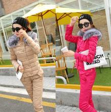 New Women Jacket large Fur Collar Down Coat Set Women Winter Cotton-padded Suit Coat+Pants Women Clothing Sets plus size k514