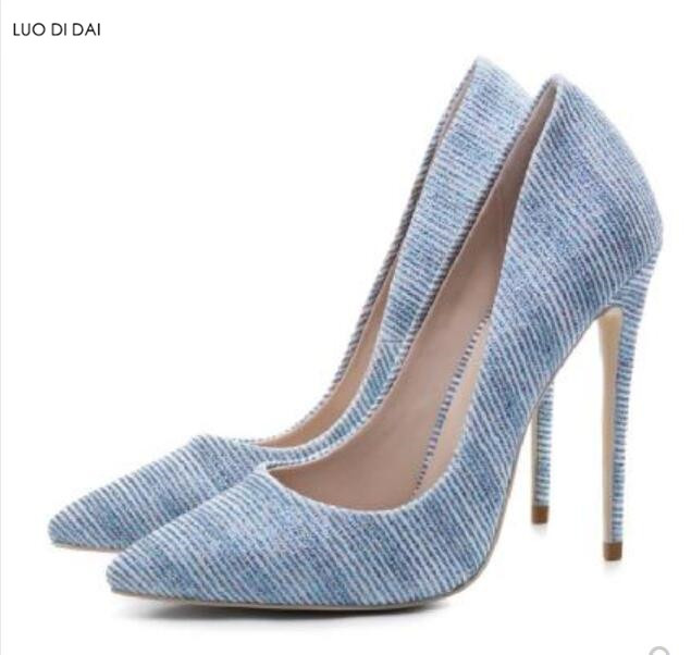 2018 New women denim high heels thin heel point toe pumps party shoes navy blue pumps dress shoes runway shoes 2018 new women pvc high heels thin heel flower print pumps party shoes thin heel point toe pumps dress shoes wedding shoes