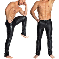 Plus Size Sexy Lingerie Exotic Pants PU Latex Catsuit Man Stage Clubwear Exotic Pants Gay Mens Plus Big Size