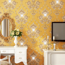 European Luxury Diamond Crystal 3D Wallpaper Flocking Non-woven Roll,Living Room TV Wall Paper Roll Floral