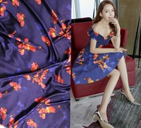Telas Super Blue flowers Woven Fabric Material For Curtains Tulle Blouse Dress Prints strech satin silk Fabric For Patchwork