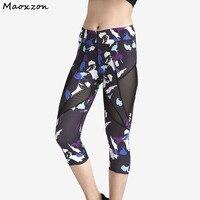 Maoxzon Для женщин печати сетки со вставками пикантные Фитнес укороченные Леггинсы для женщин выдалбливают ioga тренировки узкие до середины ик...