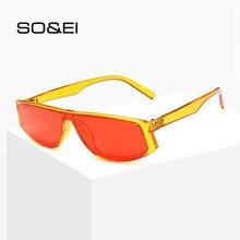 SO&EI Retro One Piece Sunglasses Women Luxury Personality Orange Style Small Frame Men Sun Glasses Sunshade UV400 Gafas De Sol