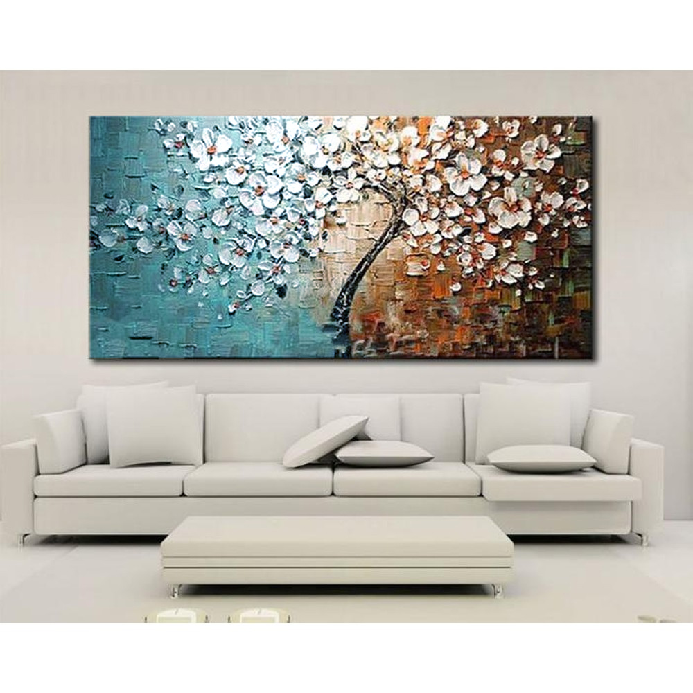 Unframed hand painted canvas oil paintings Set Flower Tree ...