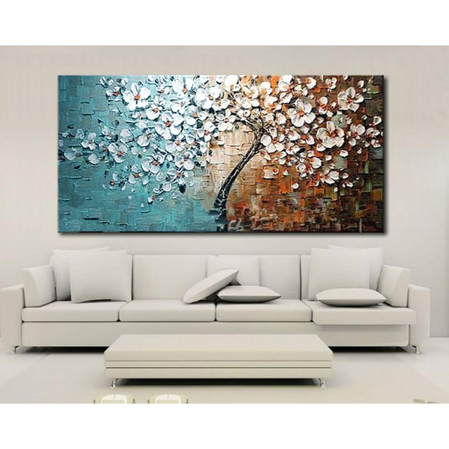 Genial Unframed Hand Painted Canvas Oil Paintings Set Flower Tree Canvas Painting  For Home Living Room Office
