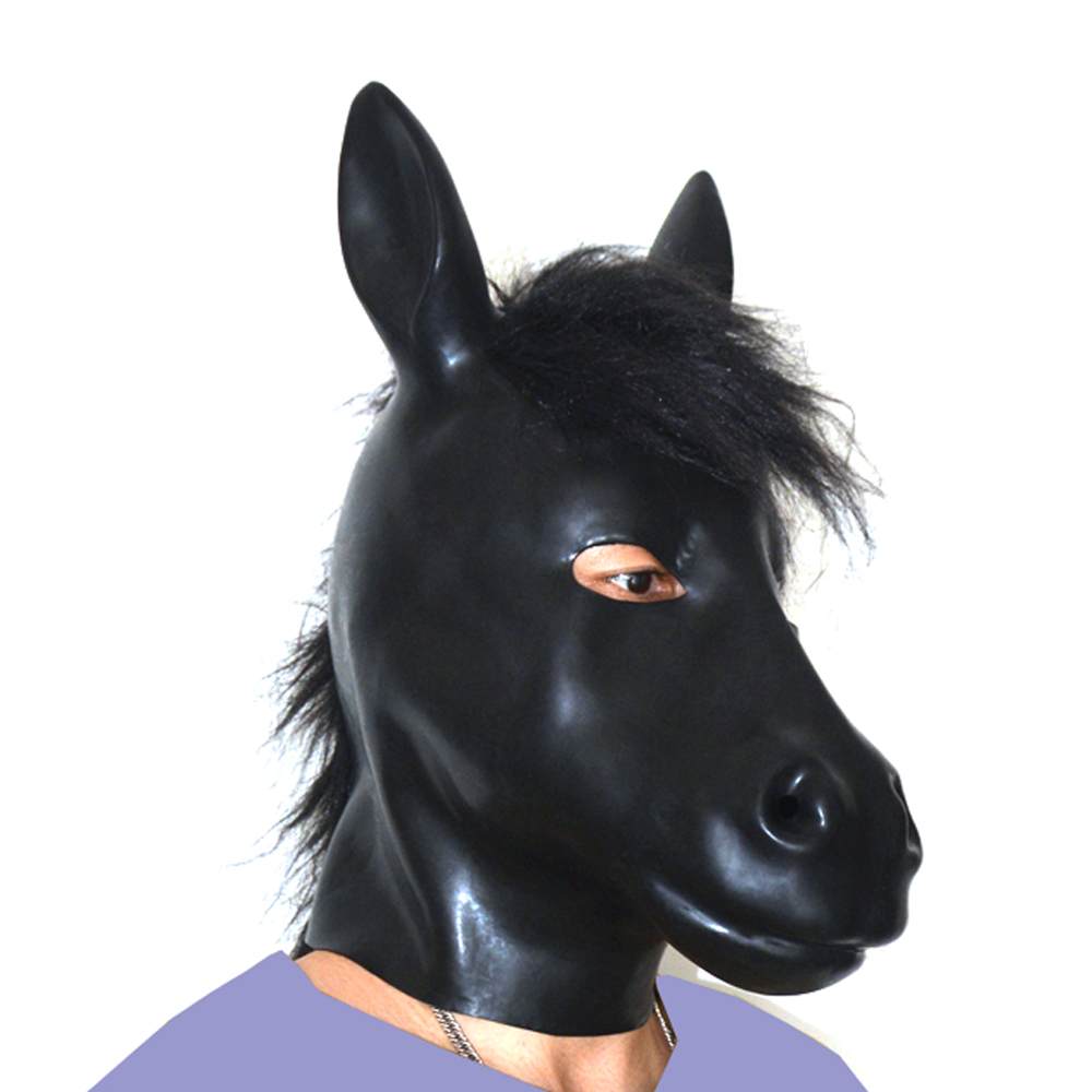 Buy (LS07)Fetish Latex full head latex pig dog cat leopard wolf horse animal head slave mask rubber hood SM Hood suffocate Mask