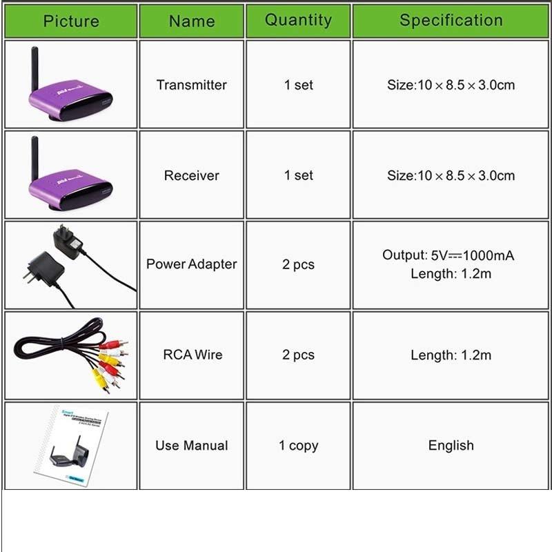 PAT-650 5.8G Wireless AV Extender RCA Audio Video Transmitter Receiver Sender For STB DVD DVB-S2 Satellite IPTV Android Cable TV