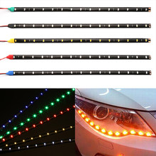 "30cm Car Flexible LED Strip Light High Power 12V 11.8"" 15SMD Waterproof LED Daytime Running Light Decorative Car DRL(China)"