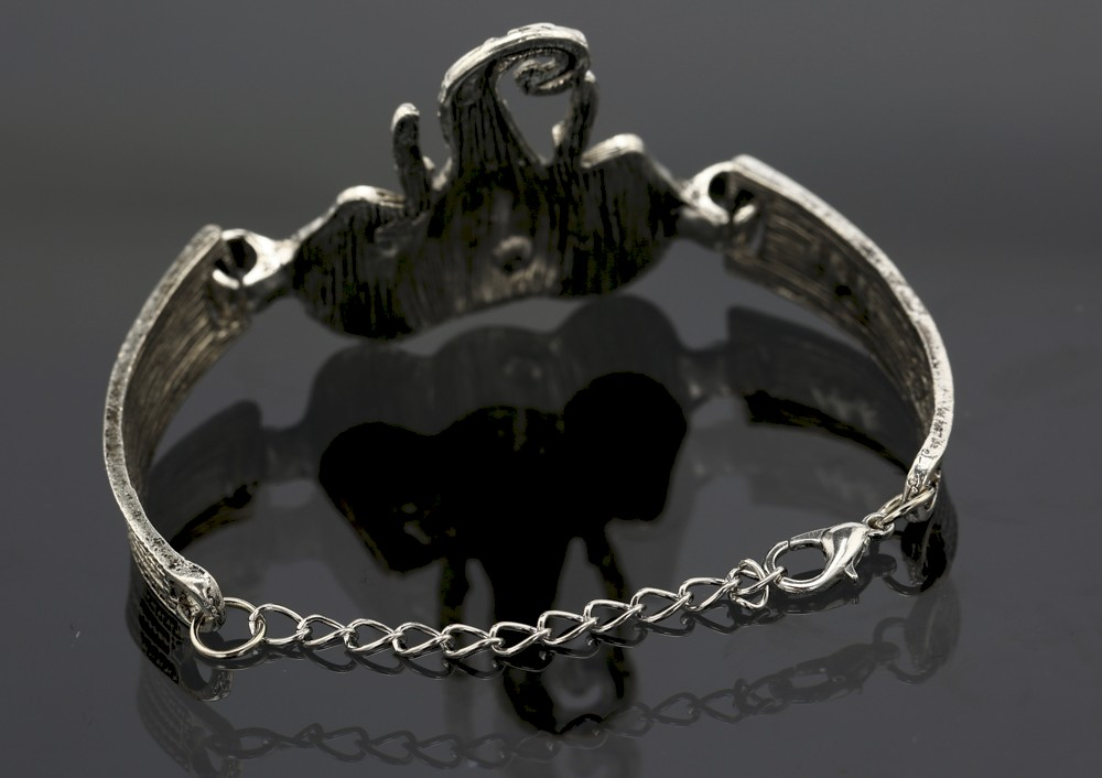 Silver Elephant Open Adjustable Bracelet