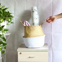WHISM Seagrass Wickerwork Baskets Straw Folding Flower Pot Hanging Garden Planter Woven Laundry Hamper Handmade Storage Basket недорого