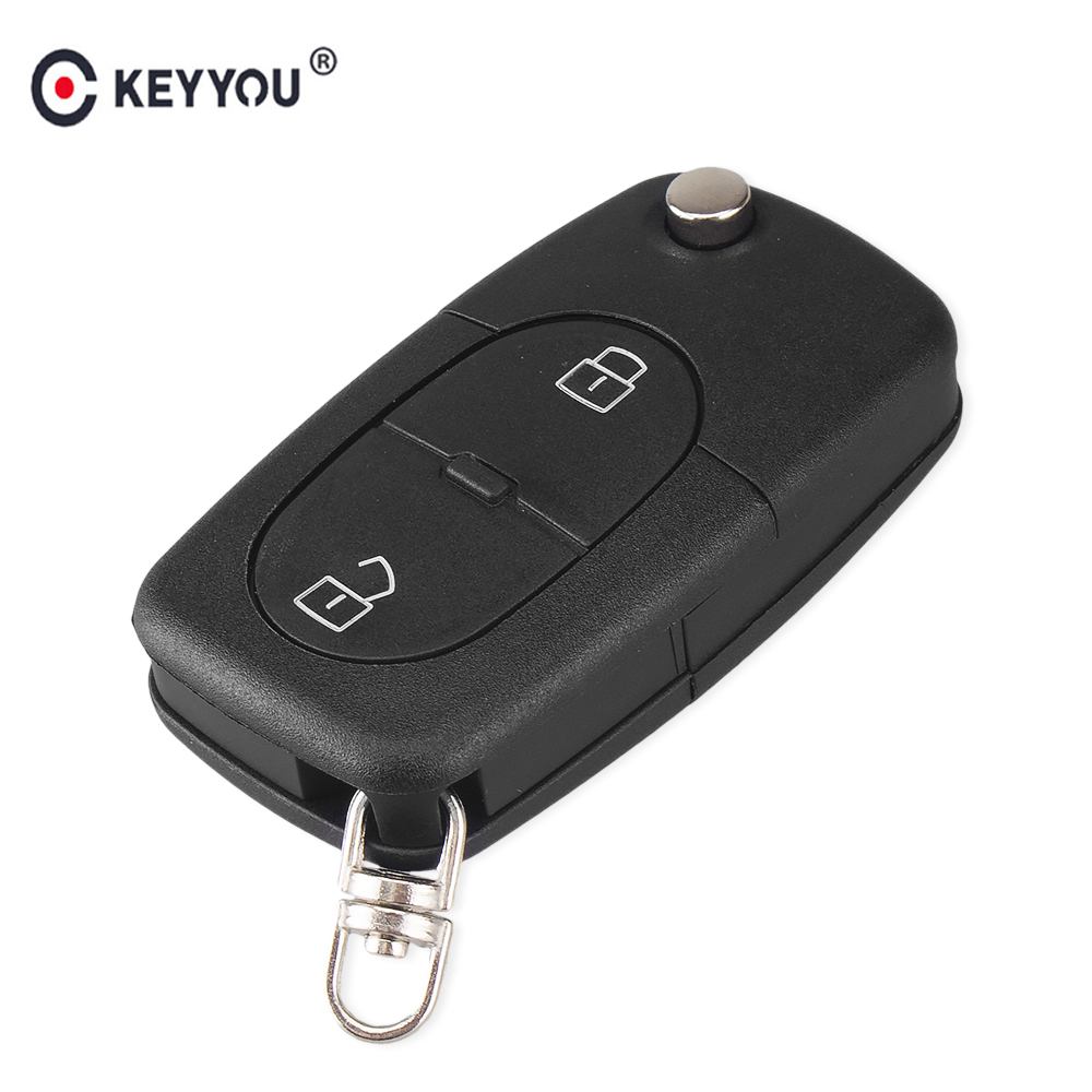 KEYYOU Flip Folding Car Remote Key Shell Fob Case For Audi A2 A3 A4 A6 A8 TT 2 Button Uncut Blade Auto Key Shell For Audi Car free shipping 3 button flip key shell for cr2032 big battery type2 for audi 10 piece lot