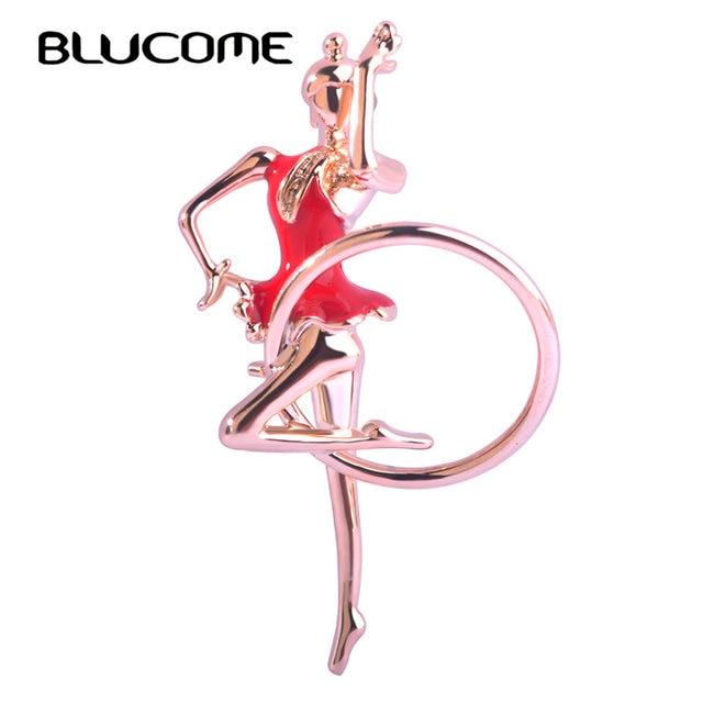 Blucome Enamel Esmalte Gymnastics Girl Brooch Gold-color Sports Club Badge Bag D
