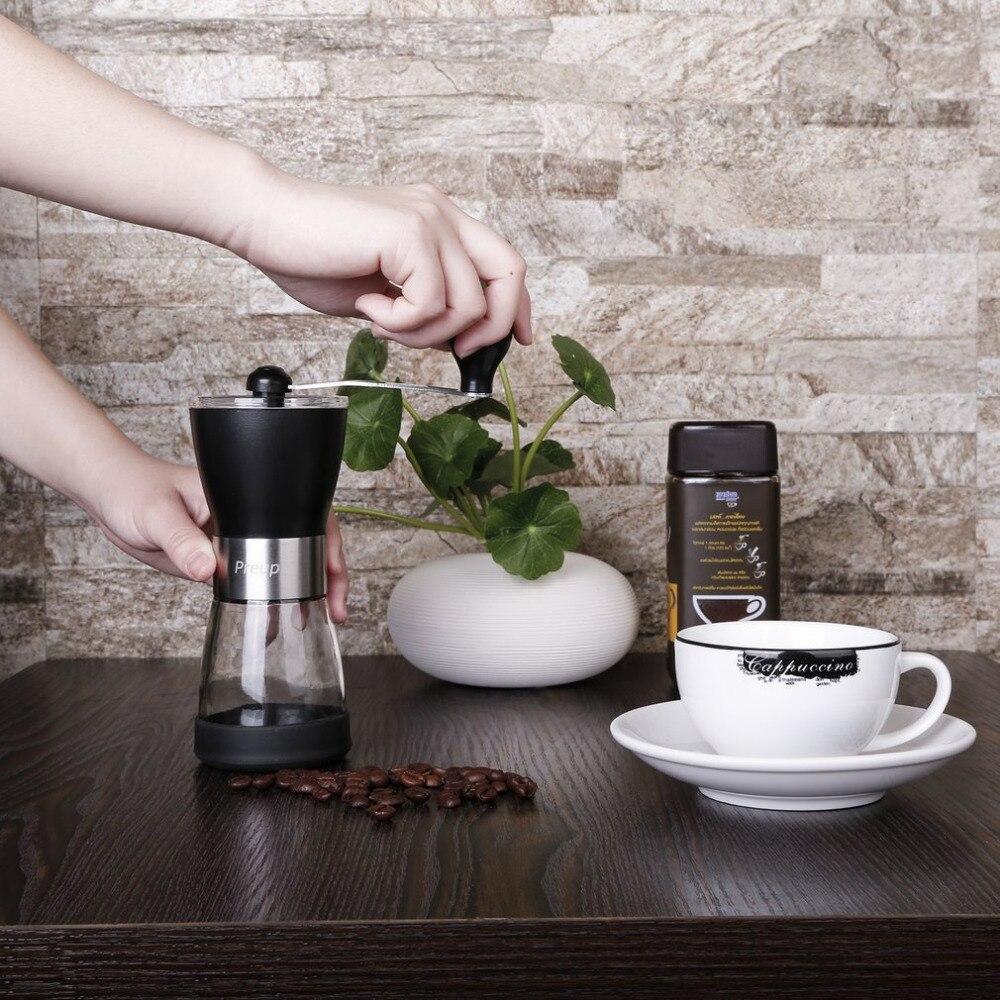 Outad Edelstahl Mini Tragbare Kaffeemühle Haltegriff Kaffeemühlen Waschbar Manuelle Abs + Pc Material Keramik Core Küche